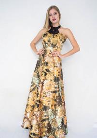 Vestido Estampado Longo Tecido