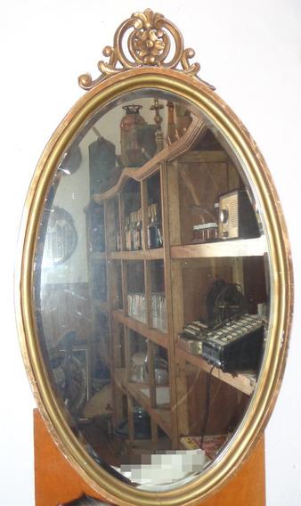Espejo Antiguo Biselado Ovalo Madera