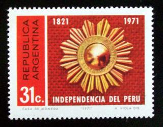 Argentina, Sello Gj 1567 Independencia Perú 1971 Mint L4985