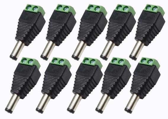 Kit Pacote 10 Plug Conector P4 Macho P/ Cftv Câmera Borne