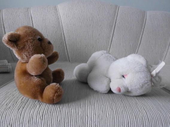 2 Ursinhos Pelucia 25 Cm Branco E 16 Cm Marron