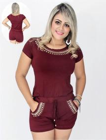 890055463 Blusa+shorts Com Pedras Moda Verão Roupas Femininas Modinha