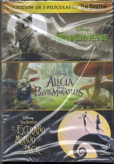 Dvd Coleccion De 3 Peliculas De Tim Burton Nueva Cerrada