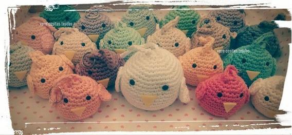 10 Pollitos Tejidos Crochet Colgantes Souvenirs Nacimiento