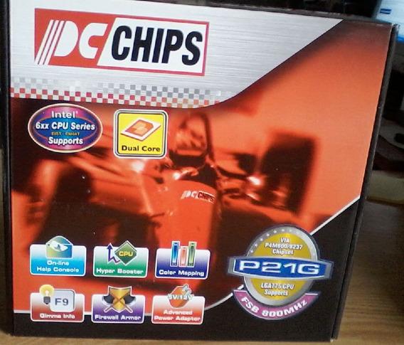 Placa Mãe Pcchips P21g 775 Ddr Nova Na Caixa Com Acessórios