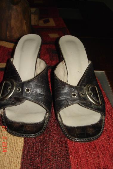 Sandalia Zapatos Mujer Abiertos Con Taco Ancho Talle 40