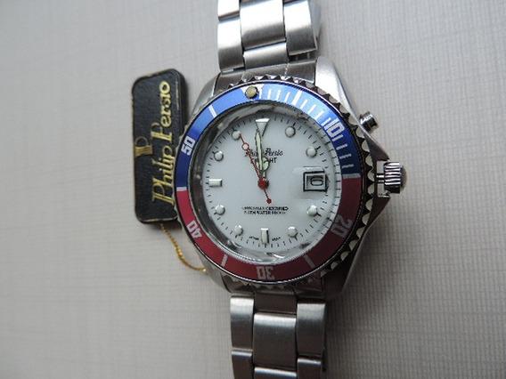 Relógio Philip Persio Masculino Importado Azul-vermelho