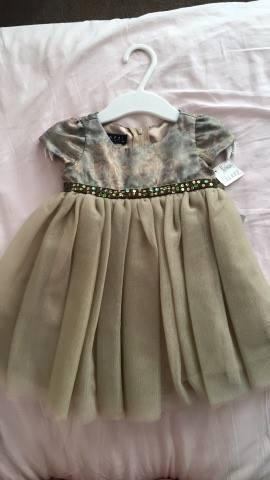 Vestido De Fiesta 6 Meses En Raso Y Tul Importado Nuevo