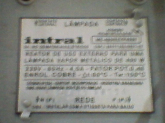 Reator Externo Intral 400w