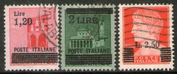 Italia 3 Sellos Usados República Social Revalorizados 1945