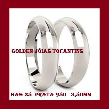 Par De Aliança De Prata 18k 950 Abaulada 3,5mm Gag 35