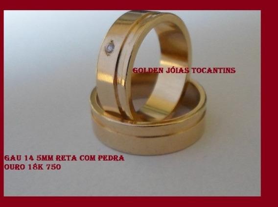 Aliança De Ouro 18k 750 Reta C/6 Gramas 5mm Gau 14