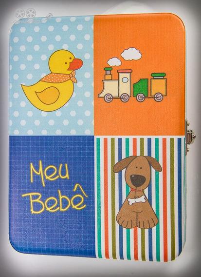 Álbum Meu Bebê Menino Tema Animais. Com Diário E Estojo!