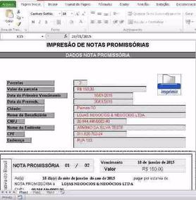 Planilha De Notas Promissórias