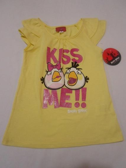 Playera Blusa Para Niña Angry Birds Amarilla 4 Años Hm4