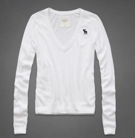 Blusão Gola V Suéter Abercrombie Branco Frete Grátis