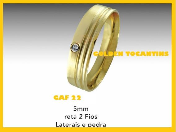Aliança De Casamento Folheada Ouro 24k 5mm Reta Gaf 22