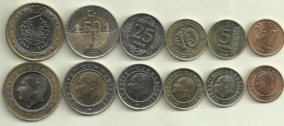 Serie De 6 Monedas De Turquia, 2 Bimetalicas, Sin Circular