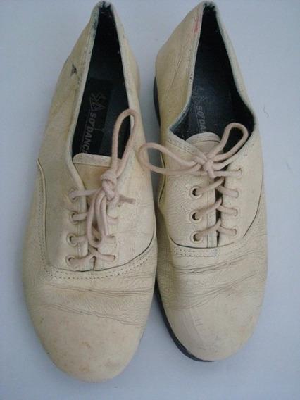 4762 Sapato Só Dança Para Sapateado, Cor Bege, Tamanho 6 (35