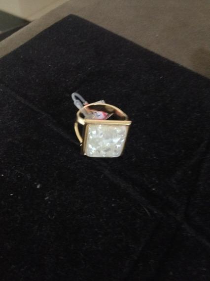 Anel Folheado Em Ouro 18k Com Pedra Natural Branca