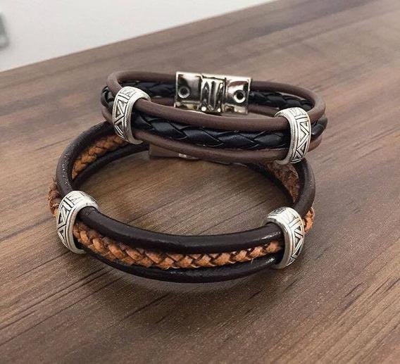 Pulseira Bracelete Masculina Feminina Couro Tribal A158
