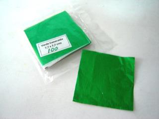 Papel Aluminio 7x7cm Verde Esmx150ud Envoltura Chocolate