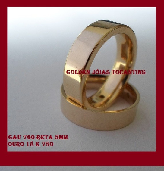 Aliança De Ouro 18k 750 Reta 5mm Gau 760