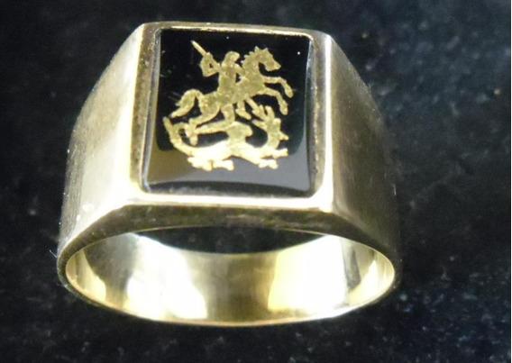 Exclusivo Anel De São Jorge Em Ouro Na Pedra Ônix - Raridade