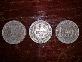 Lote 03 Moedas Prata - 2.000 Réis ( Cedula 5.000 Republica
