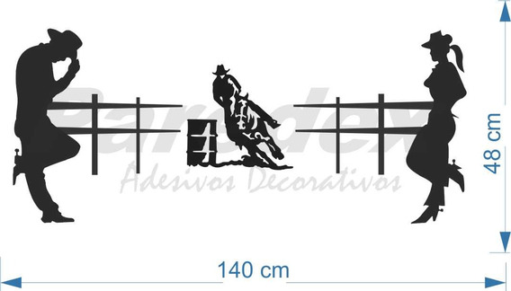 Adesivo Cabeceira Cama Cowboy 1,5metro Tambor Vaquejada Laço