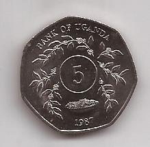 Uganda Moneda De 5 Shilling Año 1987 Excelente !!
