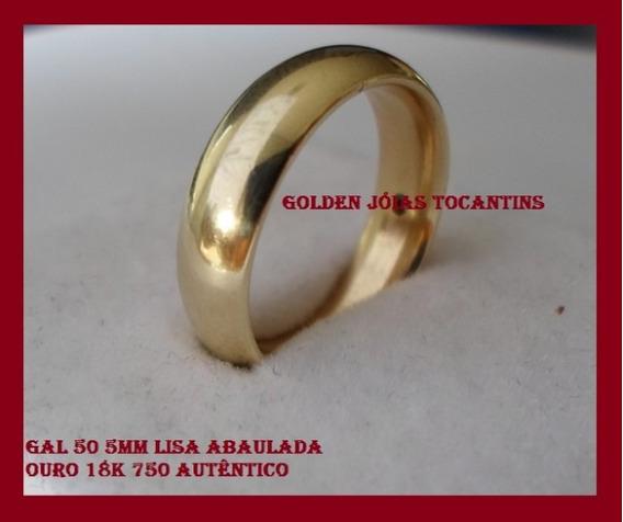 Aliança De Ouro 18k 750 Abaulada 5mm Com 6 Gramas Gau 50