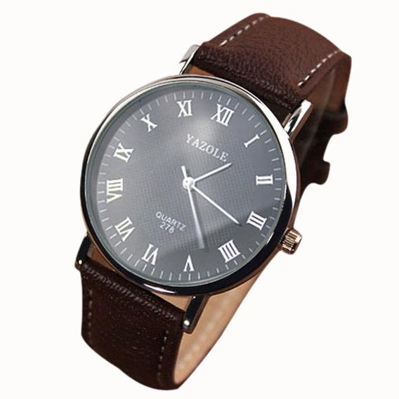 Relógio Unissex Yazole Quartz 278 Pulseira De Couro