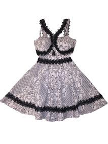 Vestido De Jacquard Com Renda