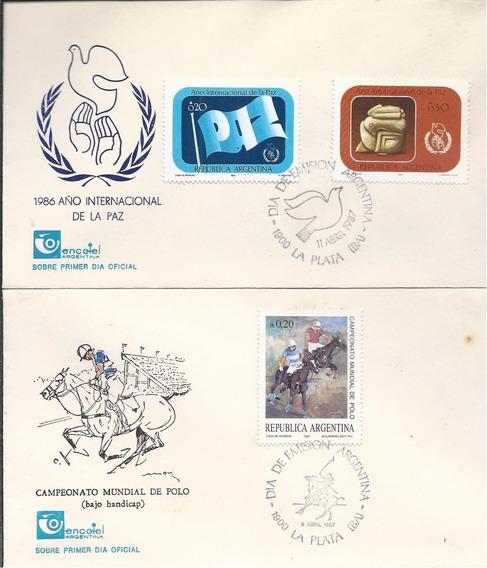 Sobres Primer Día 1987. Año Internacional De La Paz, Polo
