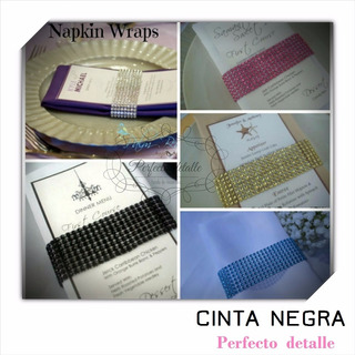 Cinta Negra Efecto Diamantes Artificiales Decoracion Boda