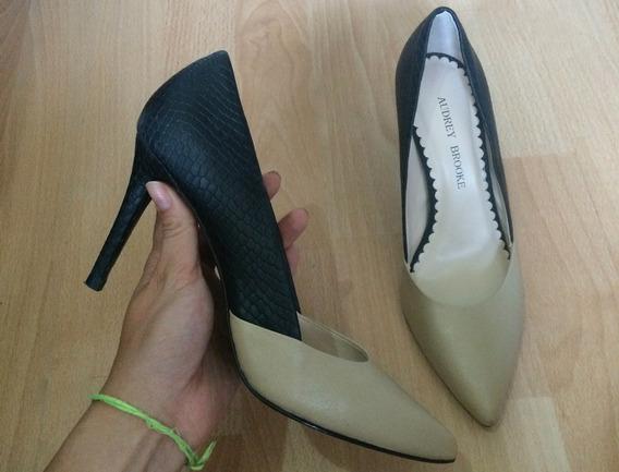 Bellisimos Zapatos Tacones Audrey Brooke Bicolor Beige Negro