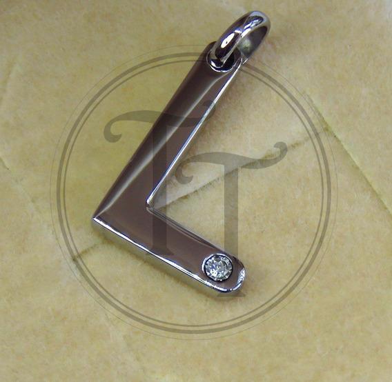 Collar Letra L En Titanio 18k Morellato Diamante 3 Pts