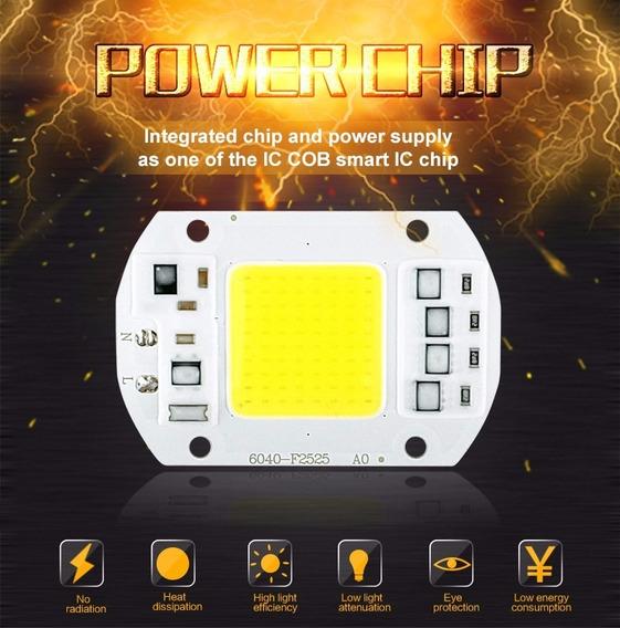 Kit 6 Unidades Led Chip 50w Driver Integrado 220v/110v