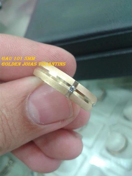 Par Aliança De Ouro 18k 750 Abaulada 5mm Com 12 Gramas Gau