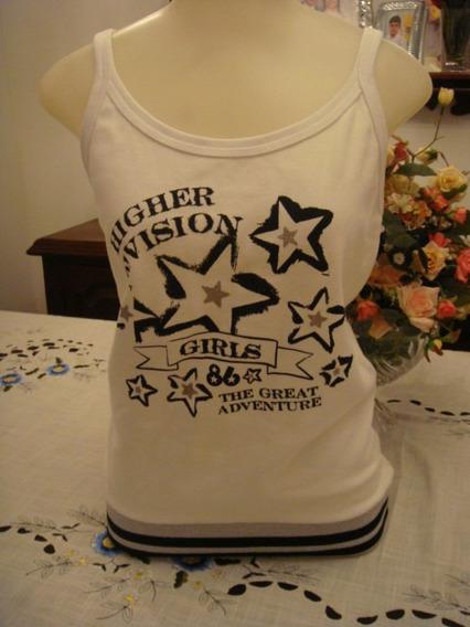 Blusa Camiseta Branca Detalhes Prata Alcinha Tam. Gg