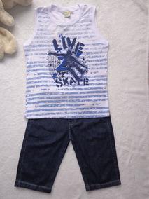 Conjunto Infantil Menino Flamê Bermuda Jeans Troy Have Fun H