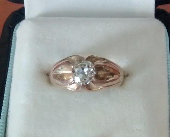 Anillo Para Caballero Con Diamante Antiguo Oro Ama 14 Kts