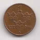 Suecia Moneda De 1 Ore Año 1950