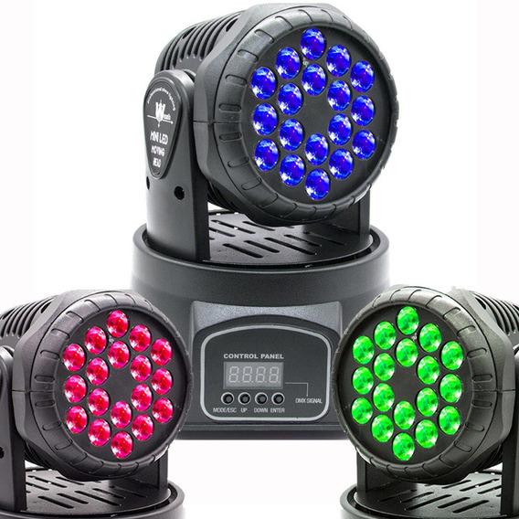 Mini Moving Head Wash 18 Quadrileds Rgb Iluminação Dj