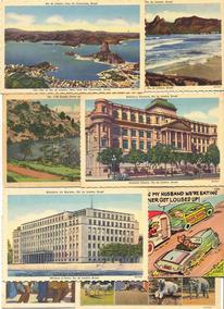 38 Cartões Postais Antigos Linhados Diversos Lugares