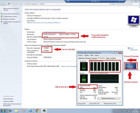 Servidor Workstation Dell T7500 2x Xeon X5660 32g Hd 1.5tb