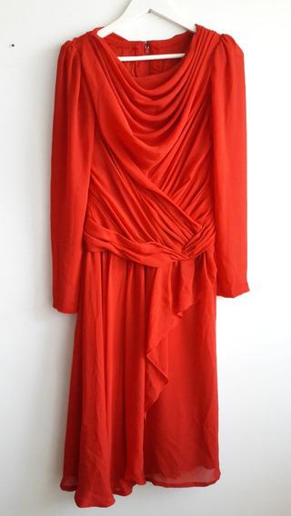 Vestido De Fiesta Drapeado De Gasa Color Rojo Talle Xs