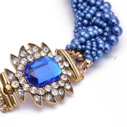 Colar Estilo Gargantilha Azul