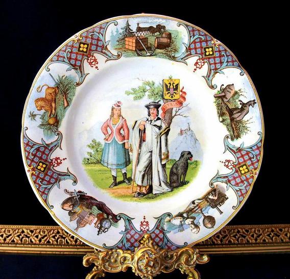 Relíquia Raríssimo Prato Francês Sarreguemines 1850 - 20,5cm